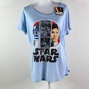 STAR WARS baby blue/black Polyester shirt SZ L